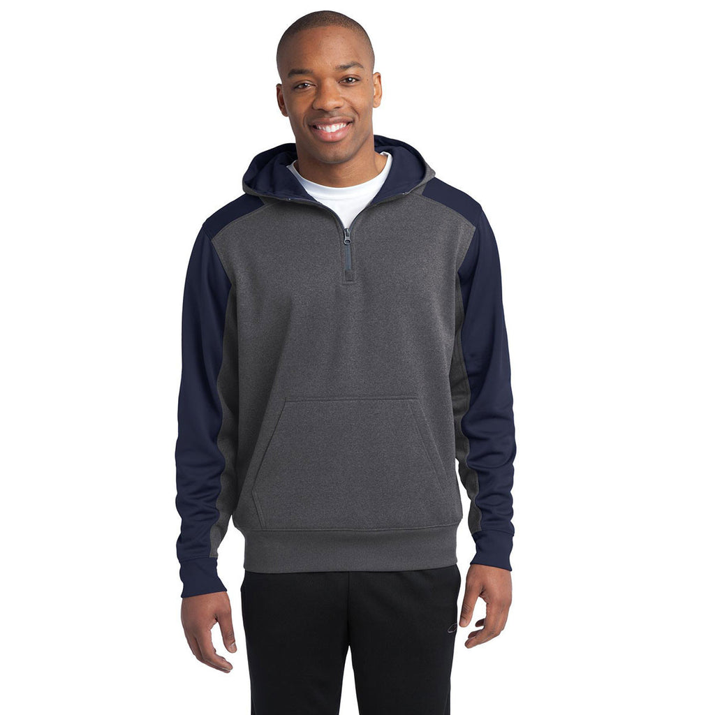 Sport-Tek Men's Graphite Heather/True Navy Tech Fleece Colorblock 1/4-Zip Hooded Sweatshirt