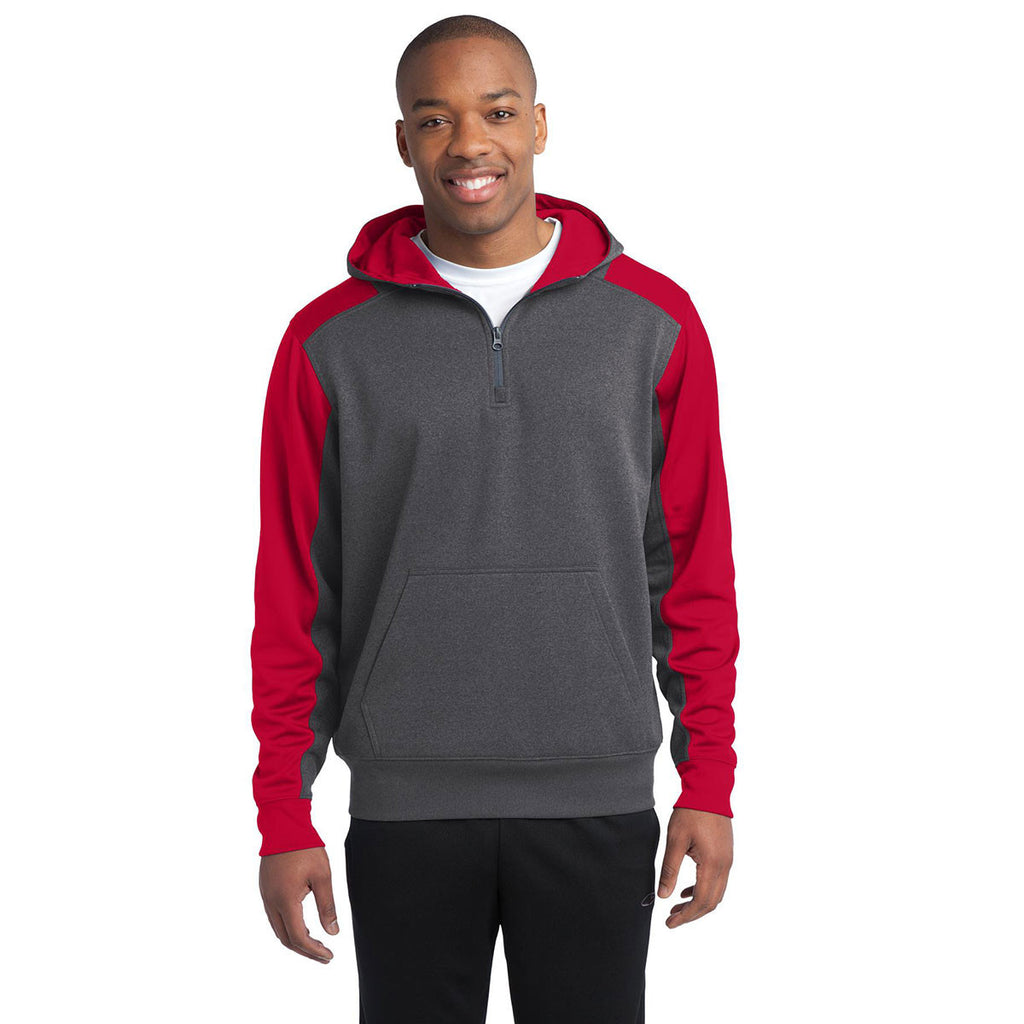 Sport-Tek Men's Graphite Heather/True Red Tech Fleece Colorblock 1/4-Zip Hooded Sweatshirt