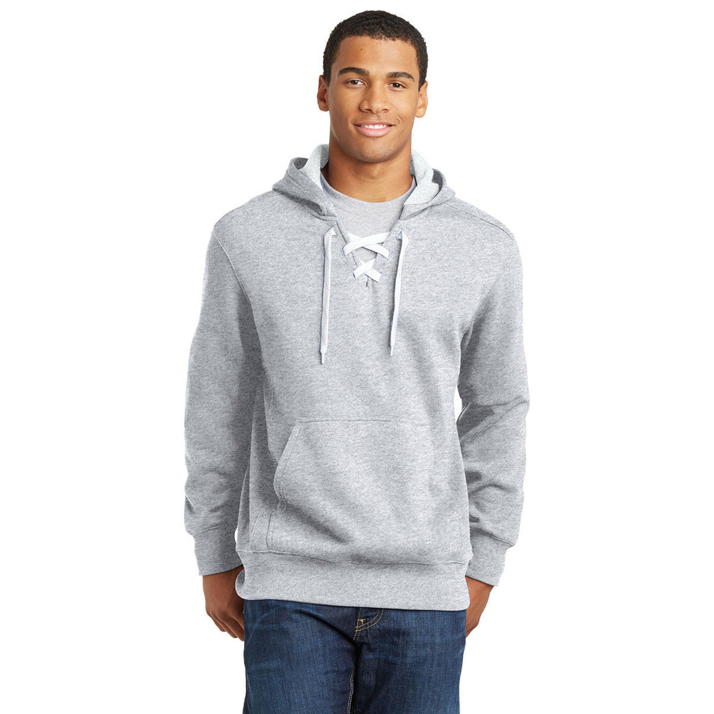 Sport-Tek Men's Athletic Heather Lace Up Pullover Hooded Sweatshirt