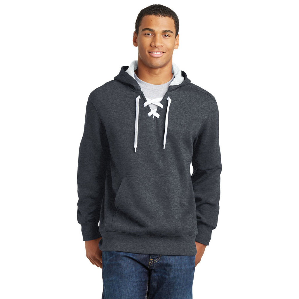 Sport-Tek Men's Graphite Heather Lace Up Pullover Hooded Sweatshirt