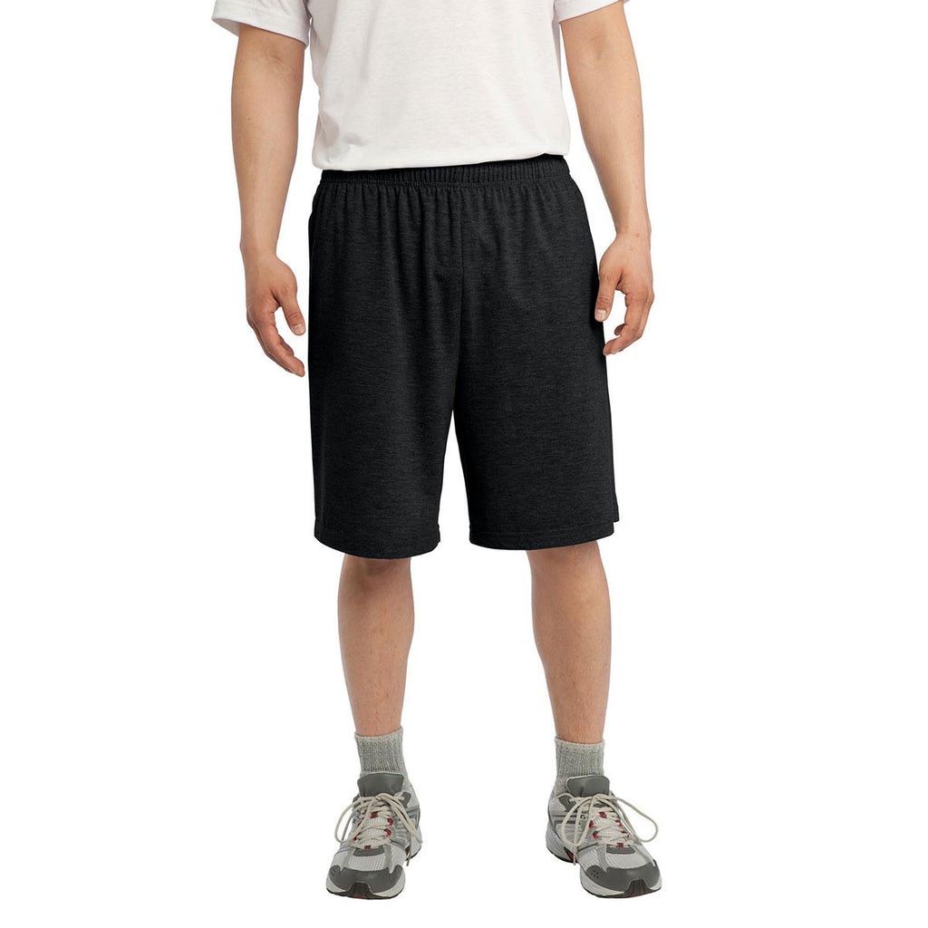 Sport-Tek Men's Black Jersey Knit Short with Pockets