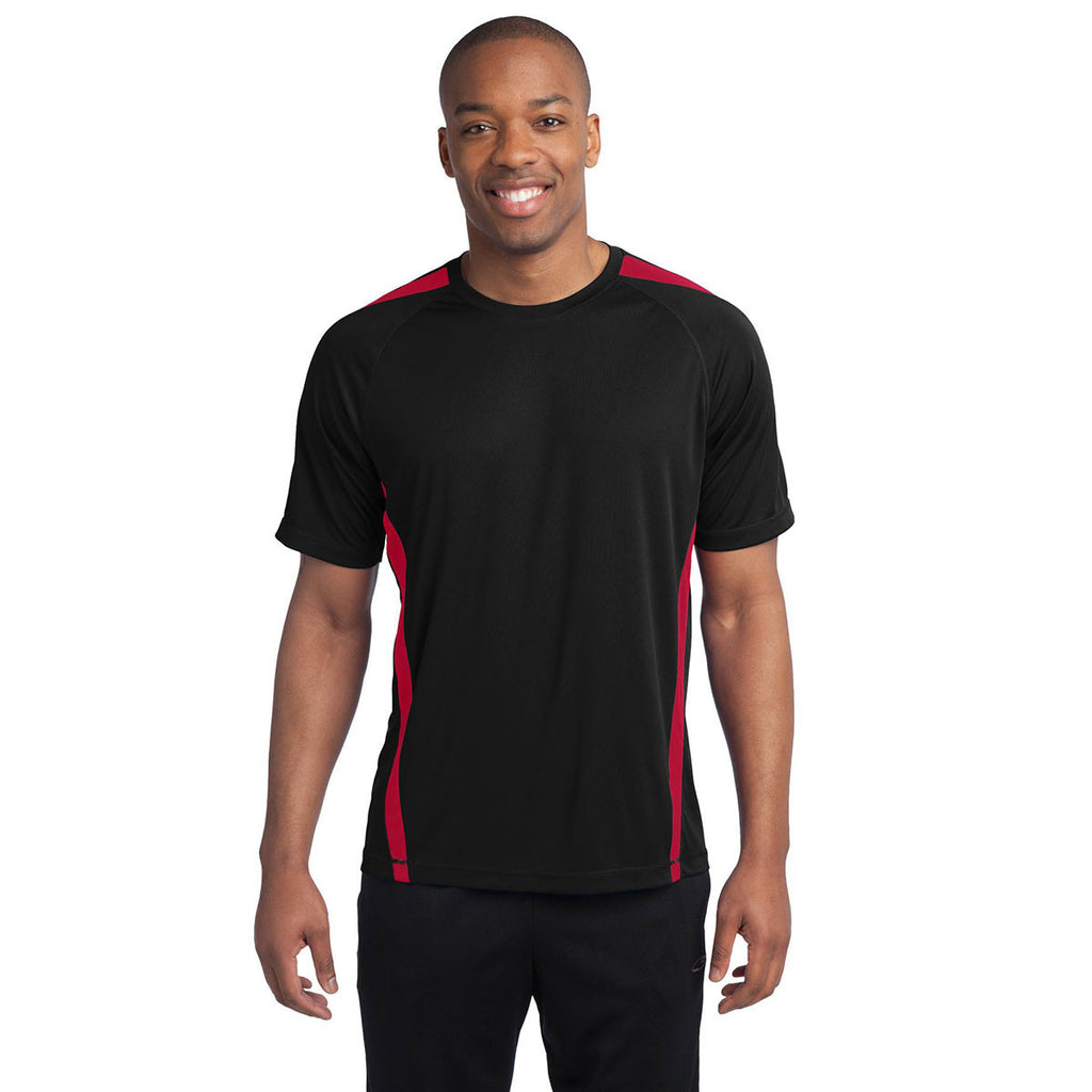 Sport-Tek Men's Black/True Red Colorblock PosiCharge Competitor Tee
