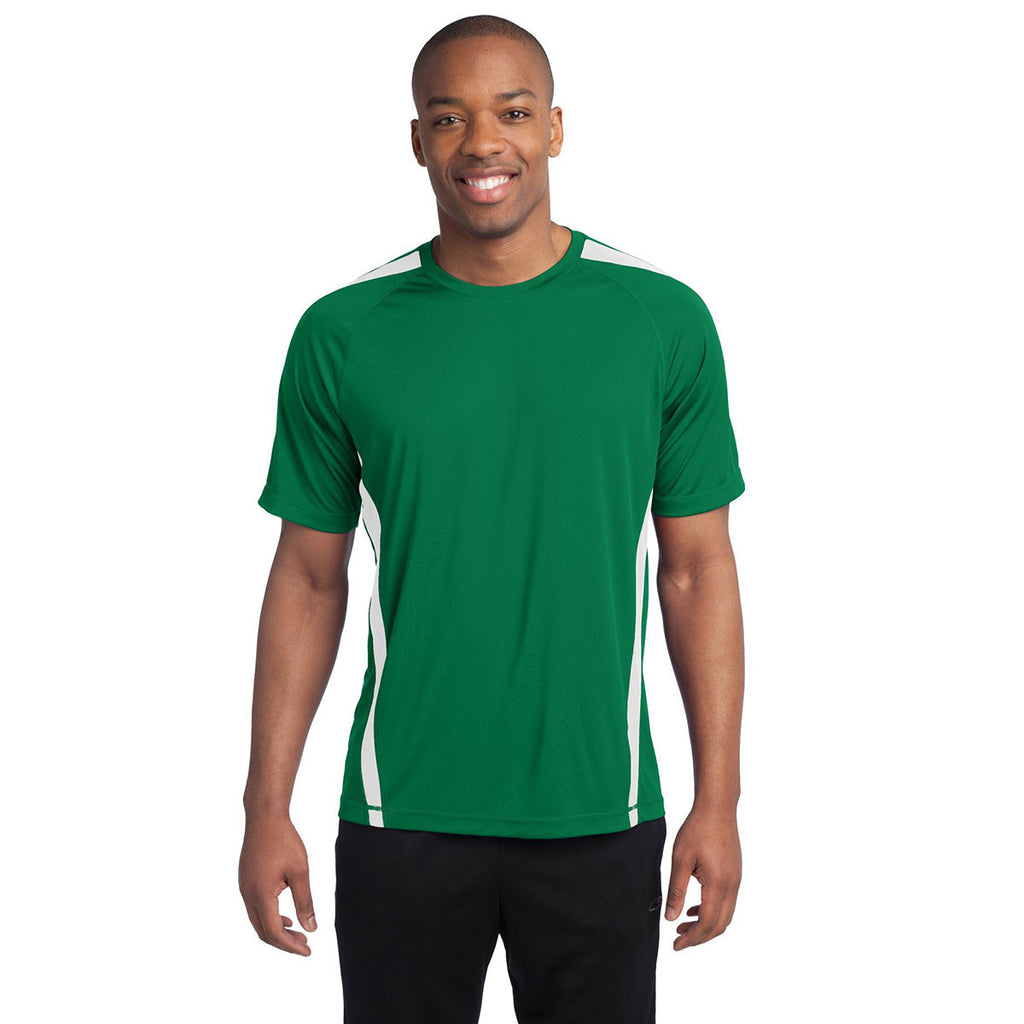 Sport-Tek Men's Kelly Green/White Colorblock PosiCharge Competitor Tee