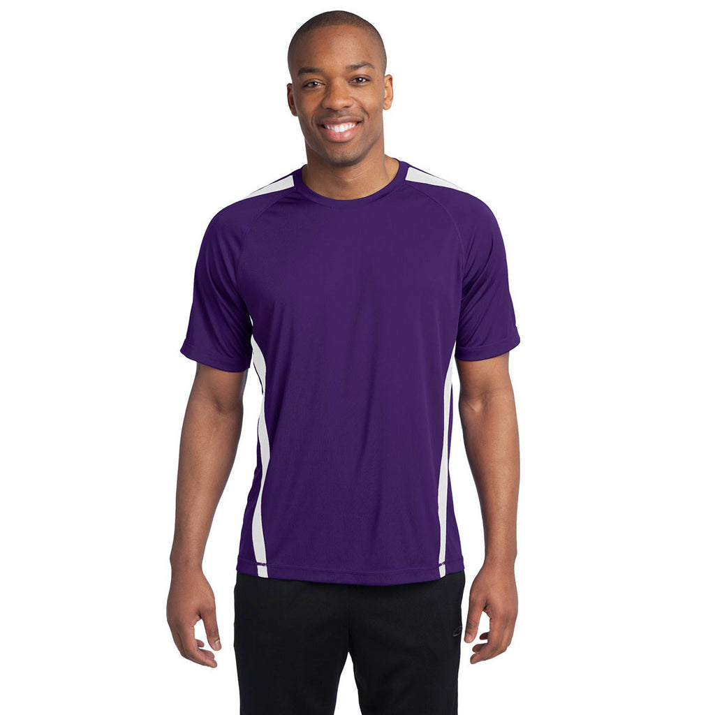 Sport-Tek Men's Purple/White Colorblock PosiCharge Competitor Tee