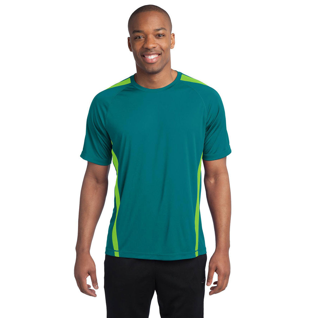 Sport-Tek Men's Tropic Blue/Lime Shock Colorblock PosiCharge Competitor Tee