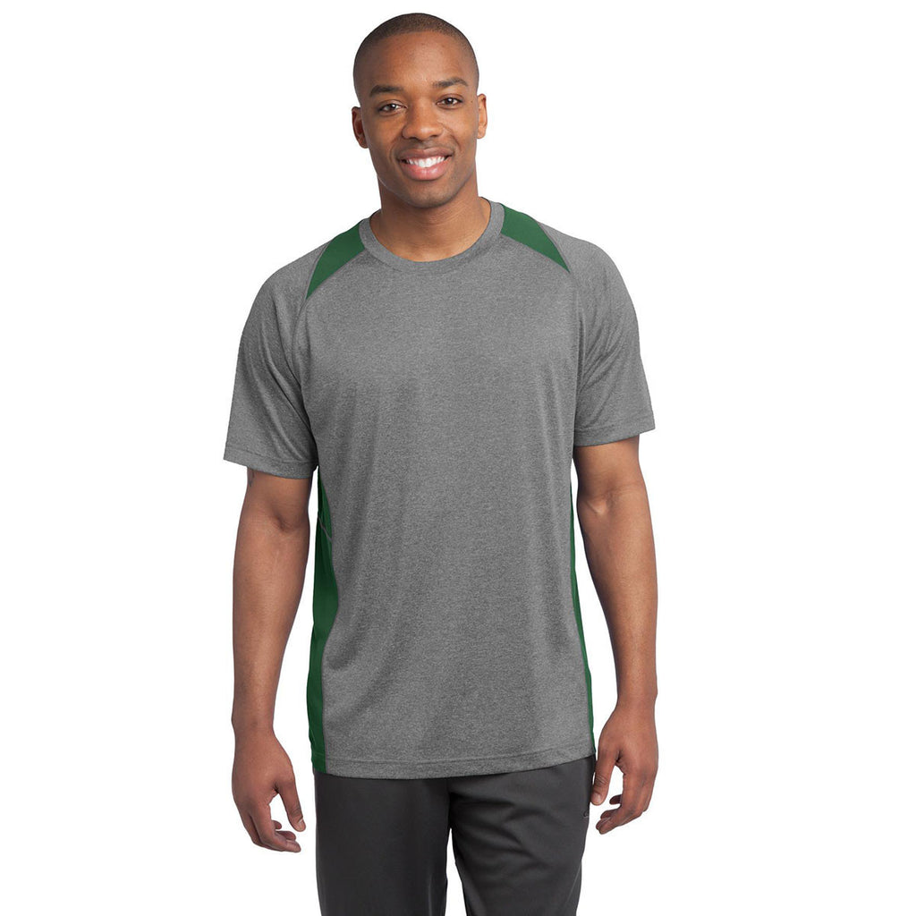 Sport-Tek Men's Vintage Heather/Forest Green Heather Colorblock Contender Tee