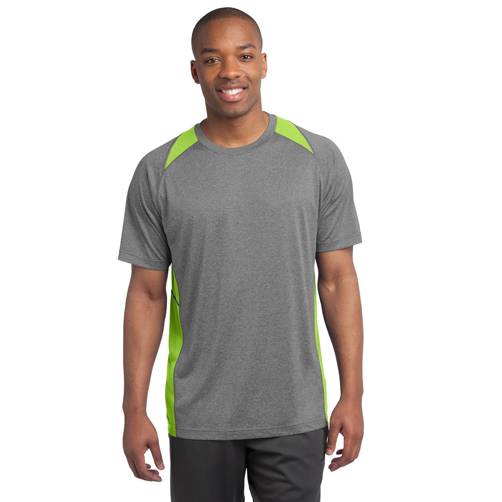 Sport-Tek Men's Vintage Heather/Lime Shock Heather Colorblock Contender Tee