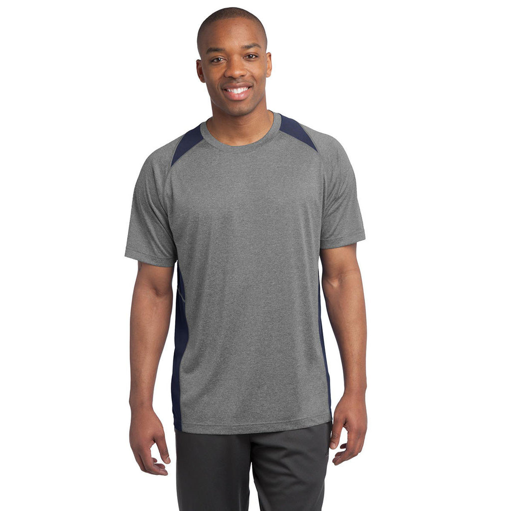 Sport-Tek Men's Vintage Heather/True Navy Heather Colorblock Contender Tee