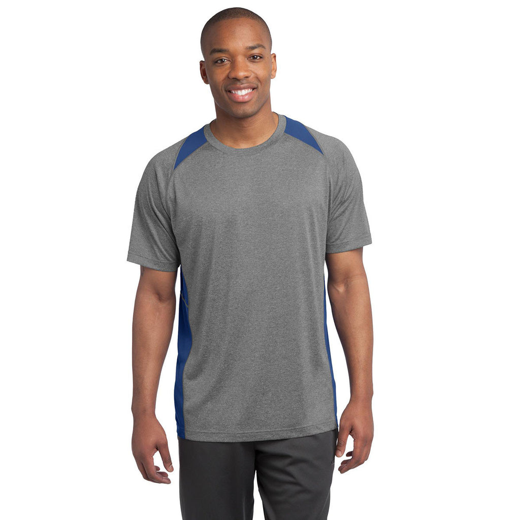Sport-Tek Men's Vintage Heather/True Royal Heather Colorblock Contender Tee