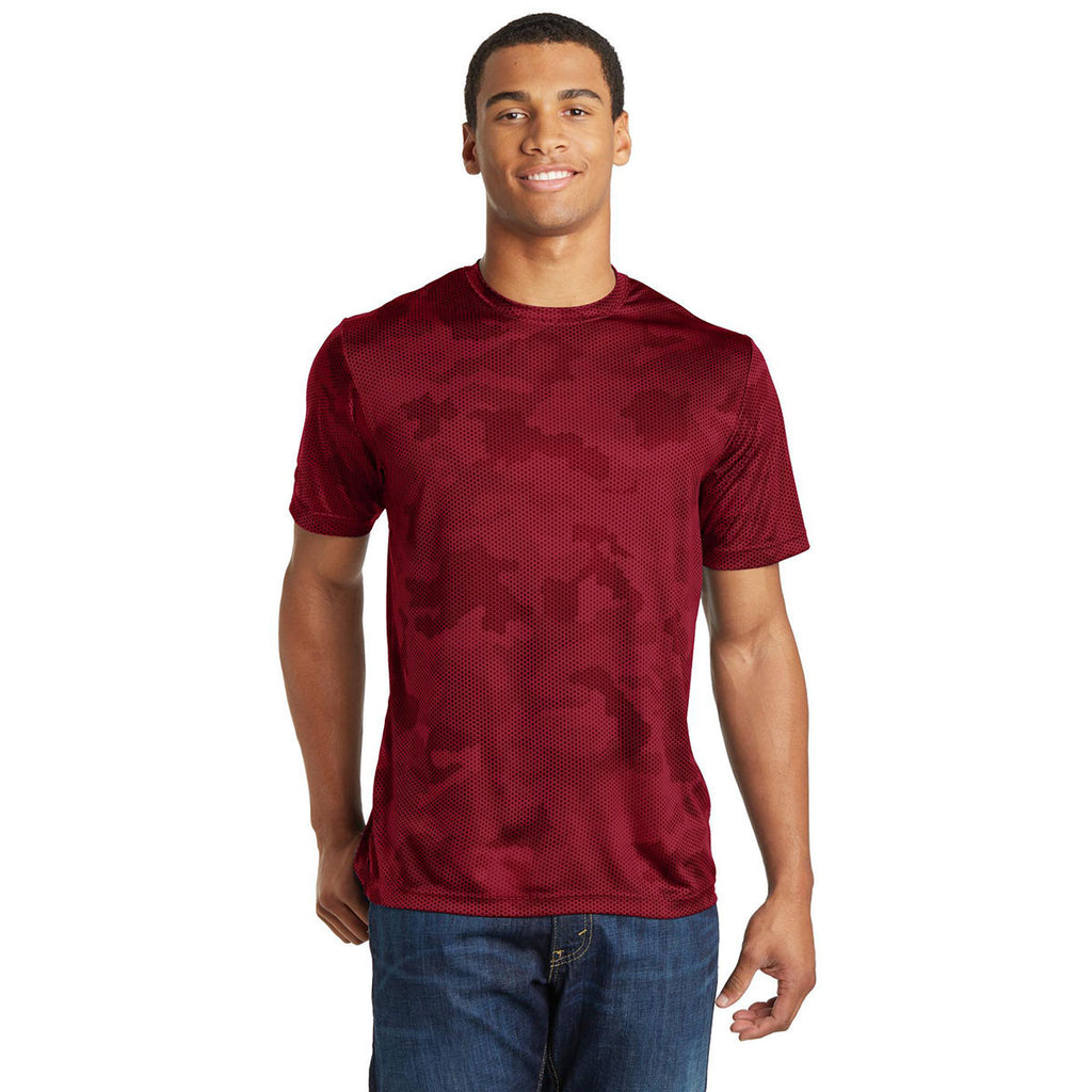 Sport-Tek Men's Deep Red CamoHex Tee