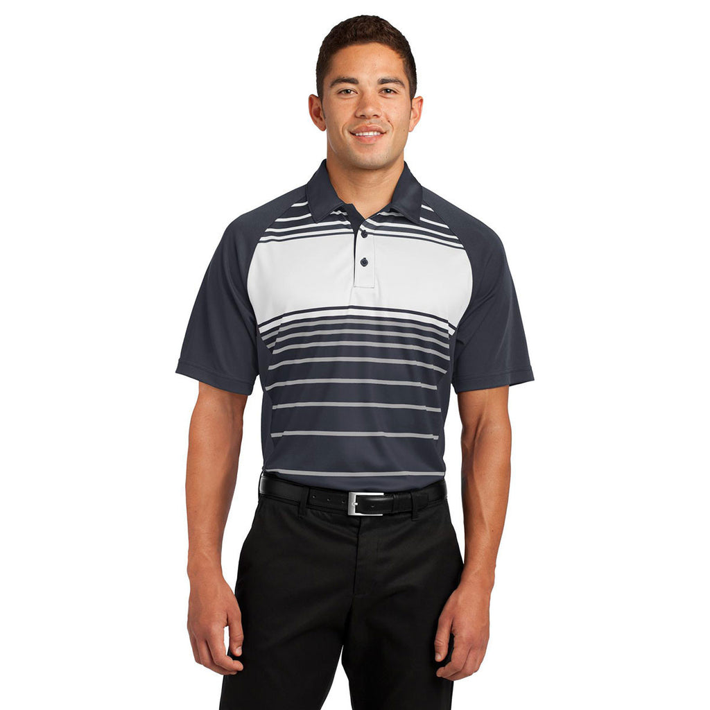 Sport-Tek Men's Black Dry Zone Sublimated Stripe Polo