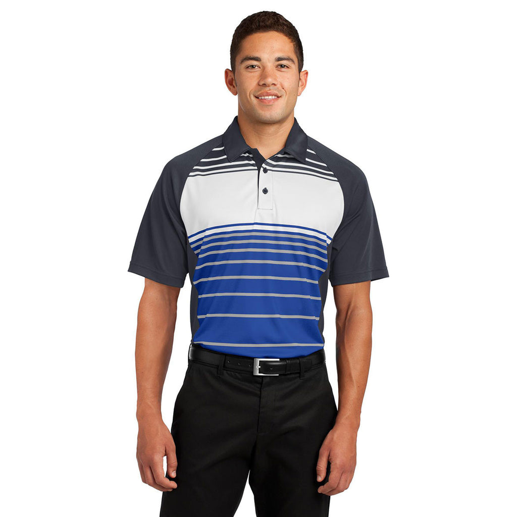 Sport-Tek Men's True Royal Dry Zone Sublimated Stripe Polo