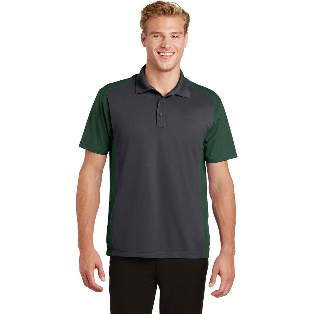 Sport-Tek Men's Iron Grey/Forest Green Colorblock Micropique Sport-Wick Polo