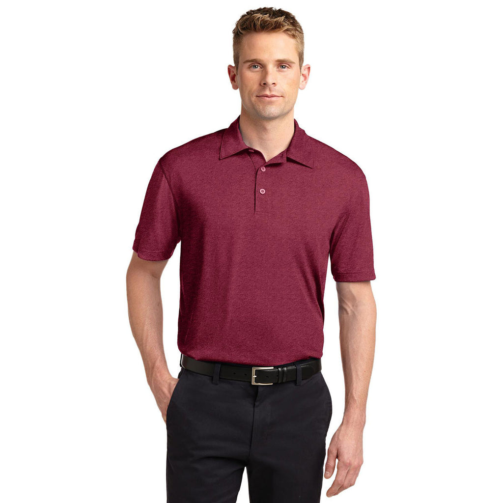 Sport-Tek Men's Cardinal Heather Contender Polo