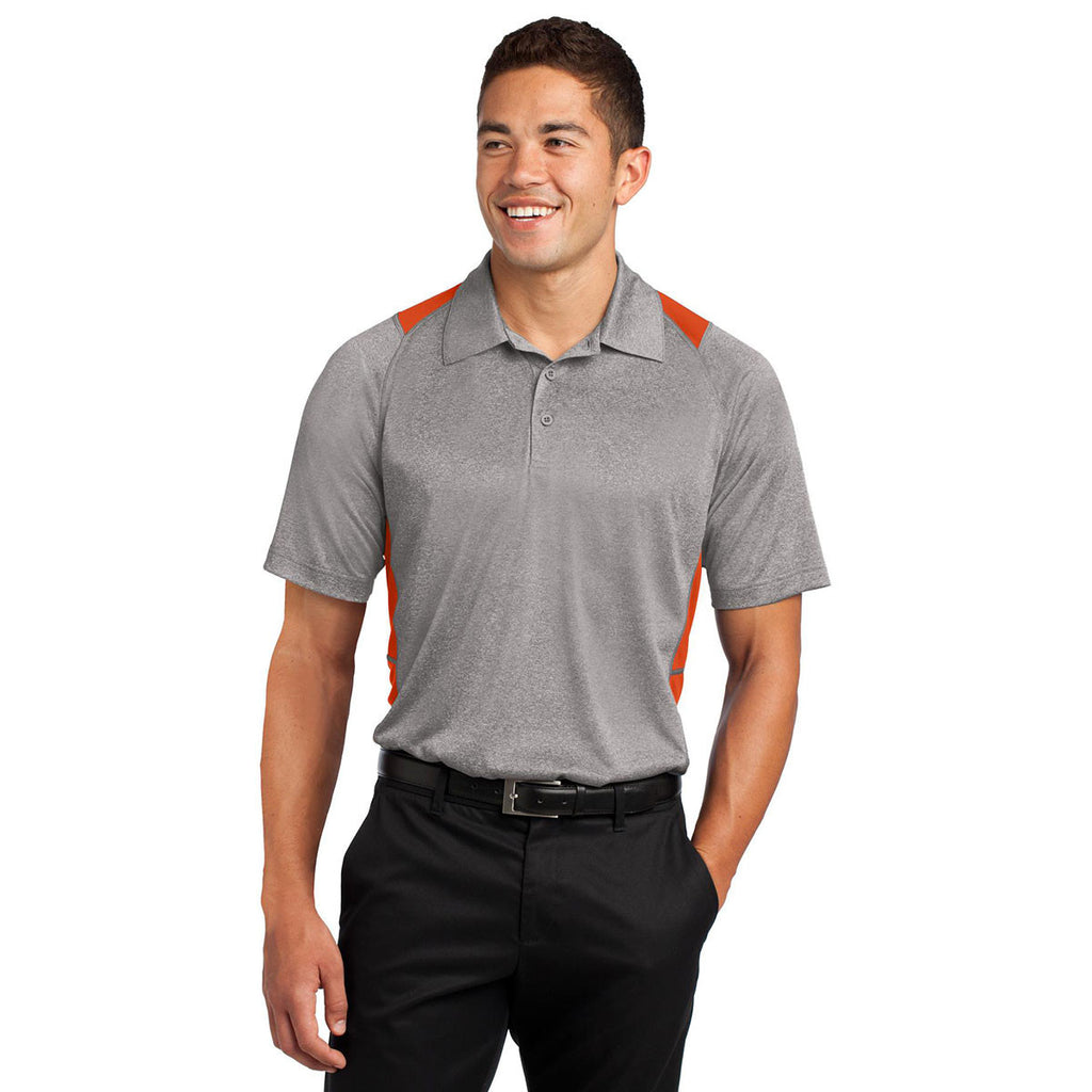 Sport-Tek Men's Vintage Heather/Deep Orange Heather Colorblock Contender Polo