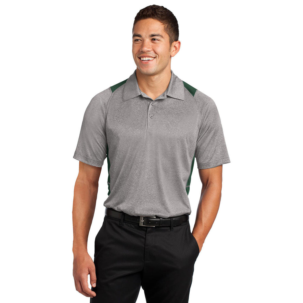 Sport-Tek Men's Vintage Heather/Forest Green Heather Colorblock Contender Polo