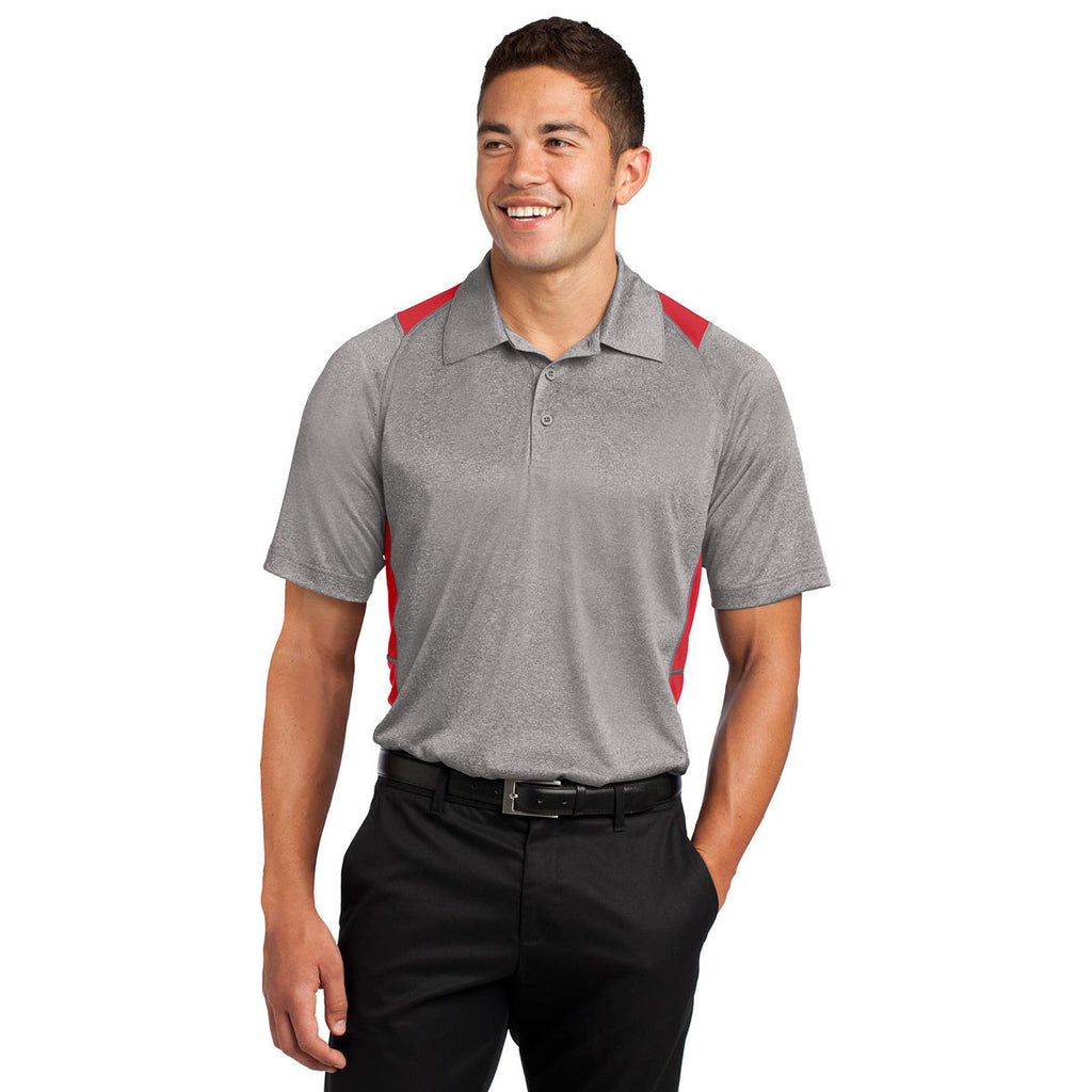 Sport-Tek Men's Vintage Heather/True Red Heather Colorblock Contender Polo