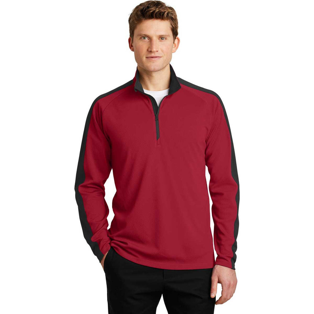 Sport-Tek Men's Deep Red/Black Sport-Wick Textured Colorblock 1/4-Zip Pullover