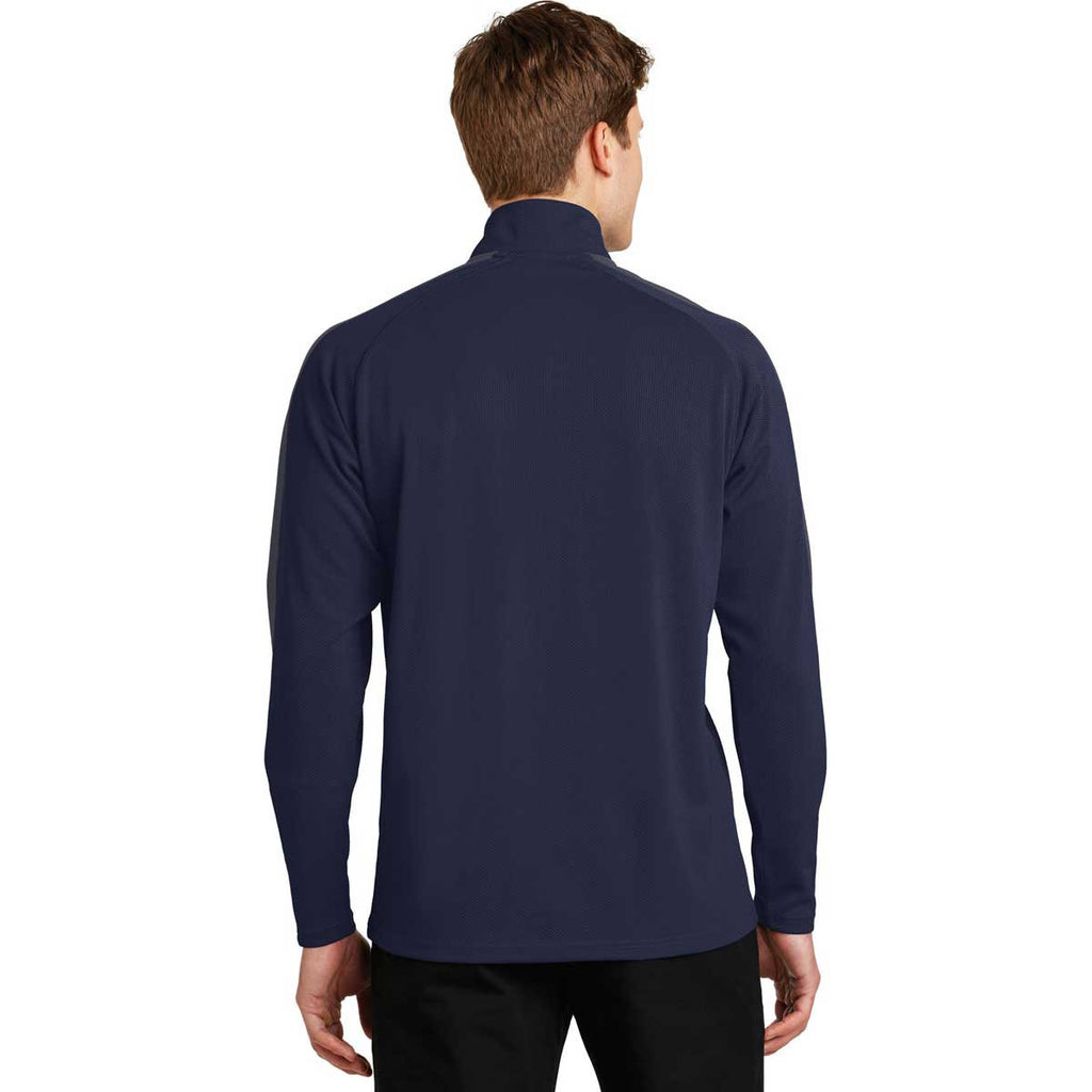 Sport-Tek Men's True Navy/Iron Grey Sport-Wick Textured Colorblock 1/4-Zip Pullover