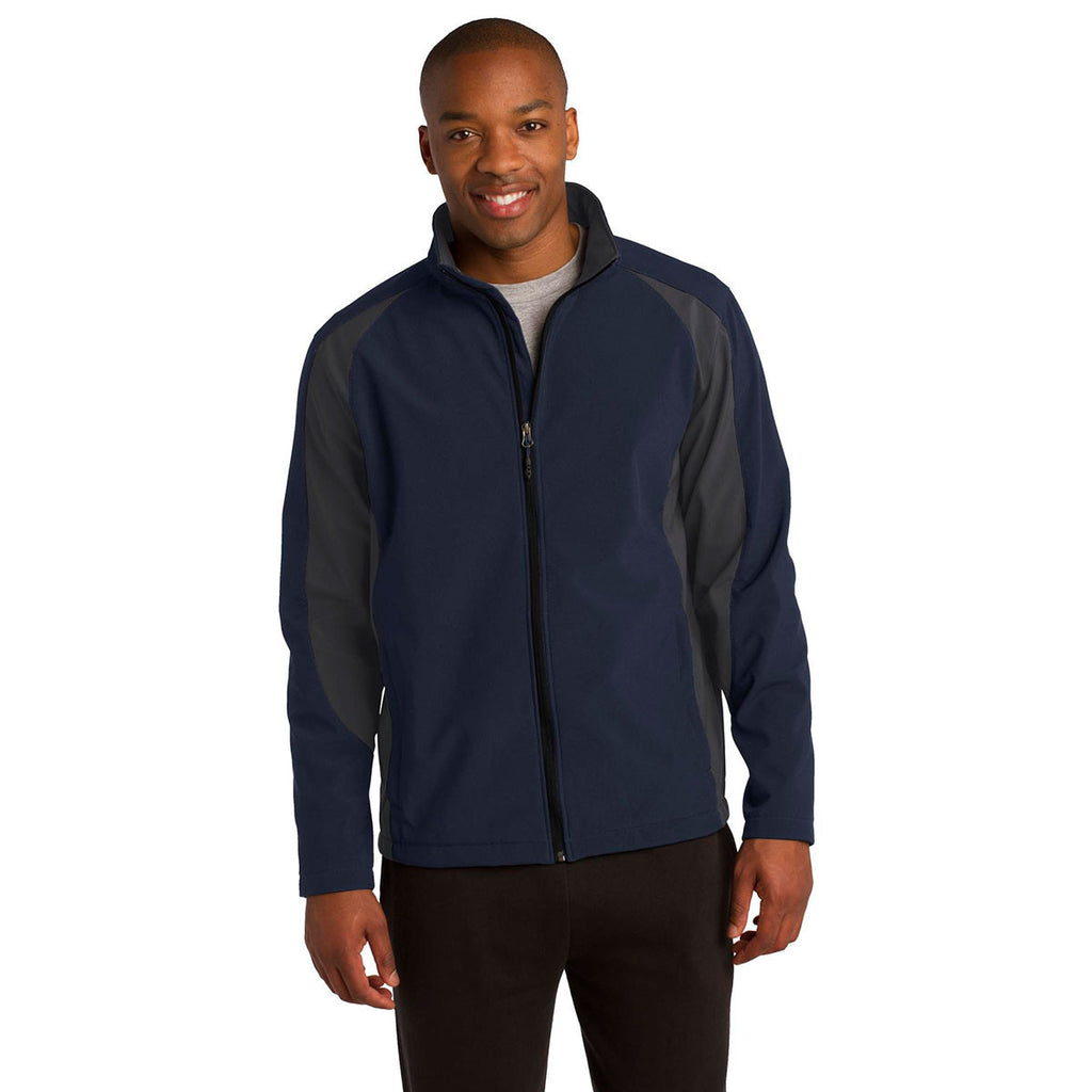 Sport-Tek Men's True Navy/Iron Grey Colorblock Soft Shell Jacket