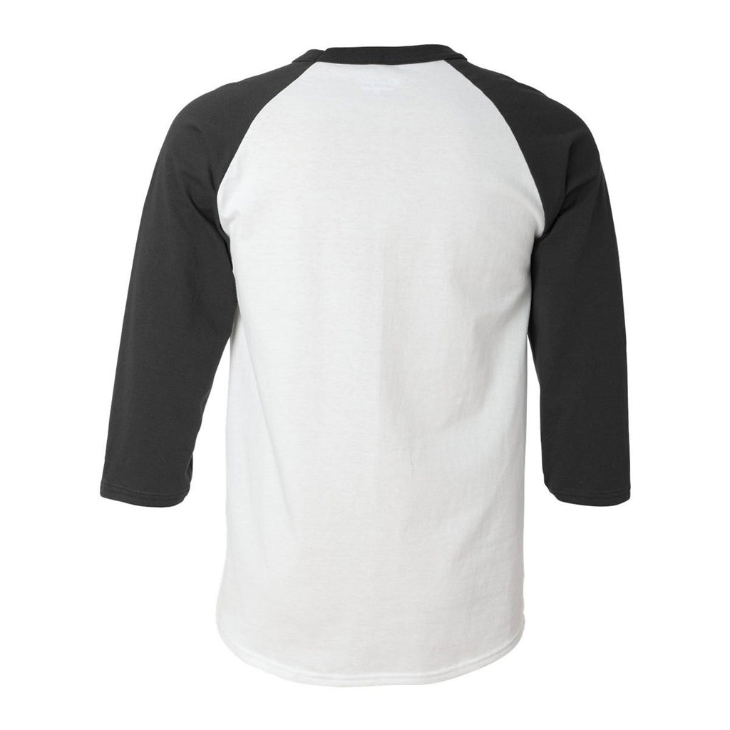 Champion Men's White/Black Raglan Baseball Tee
