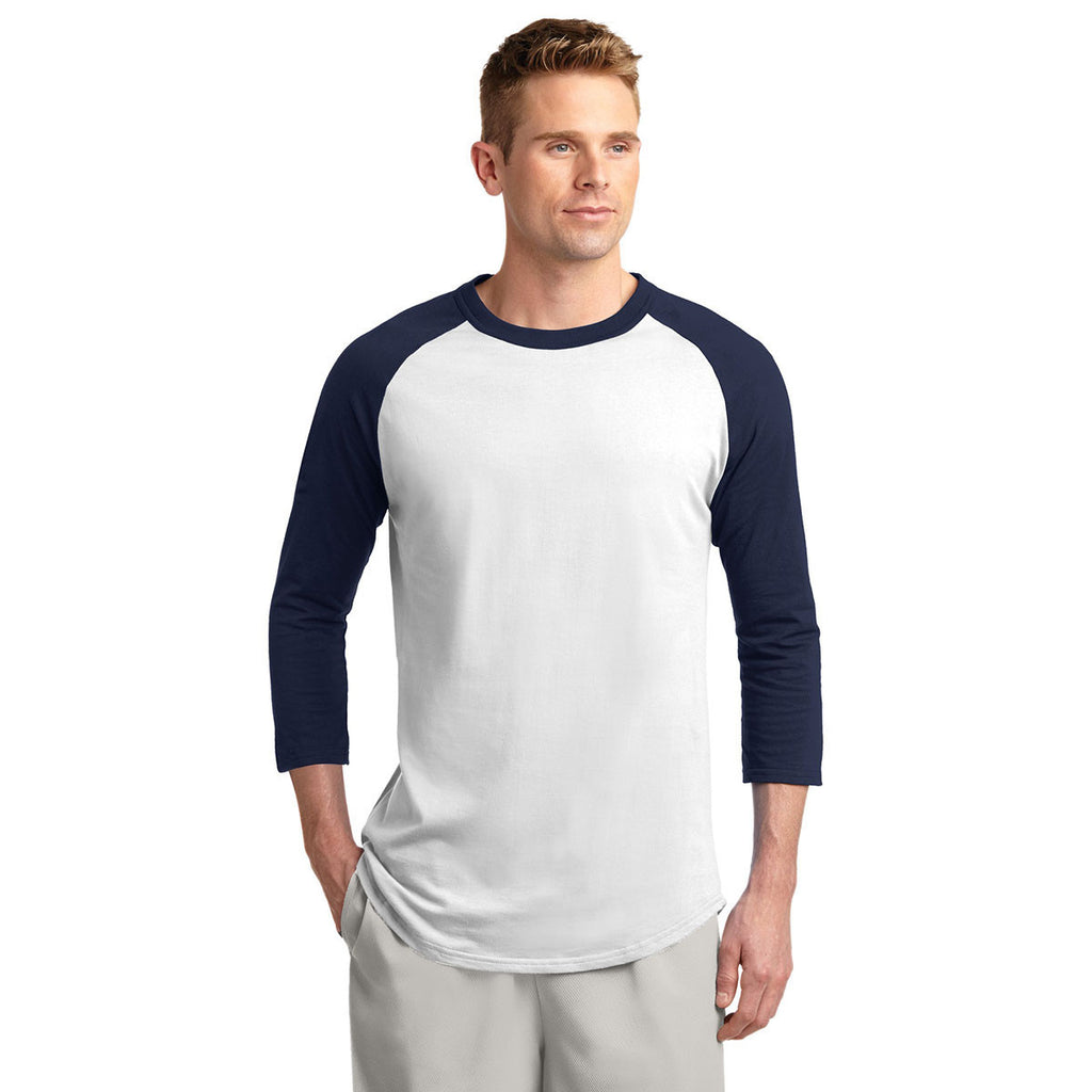 Sport-Tek Men's White/Navy Colorblock Raglan Jersey