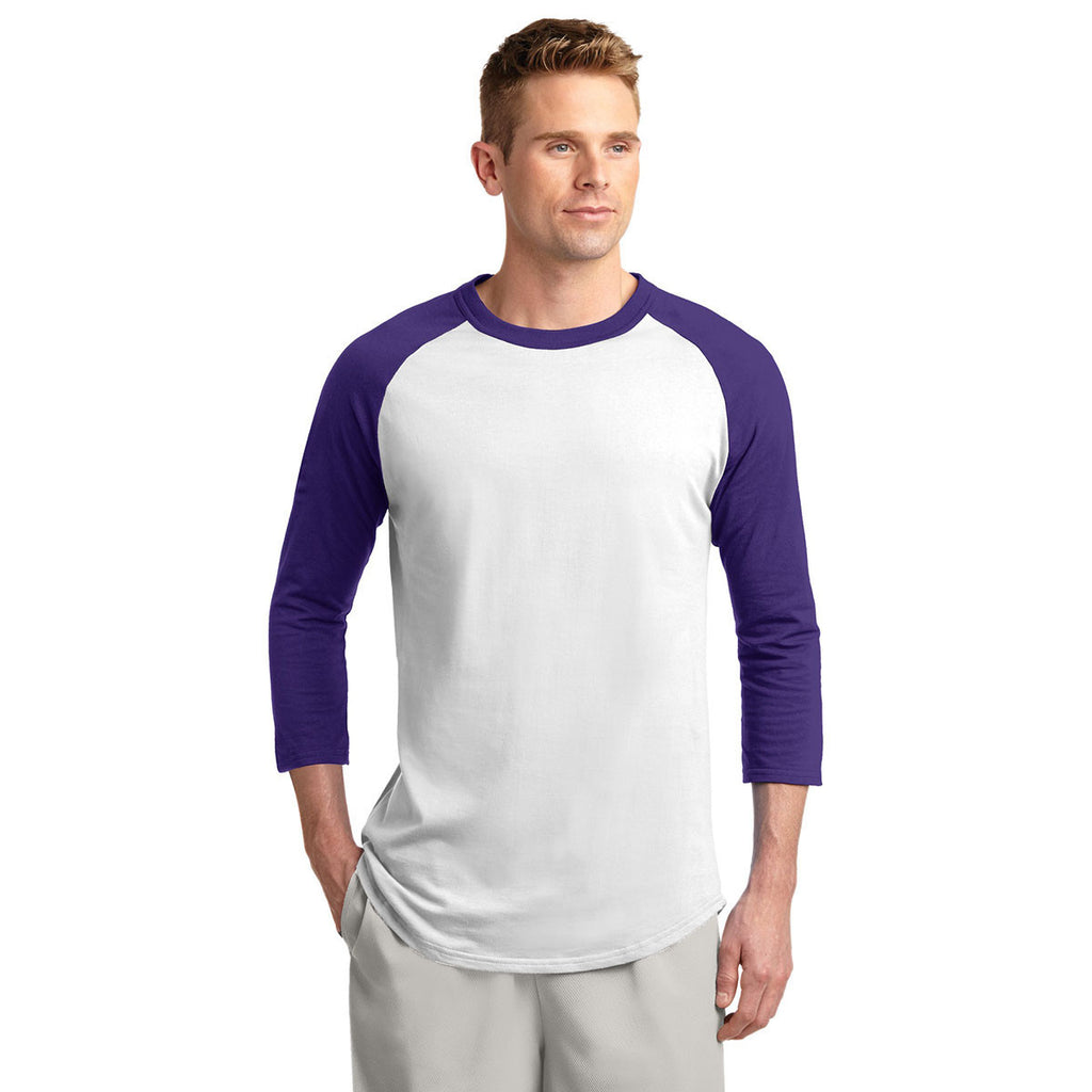 Sport-Tek Men's White/Purple Colorblock Raglan Jersey