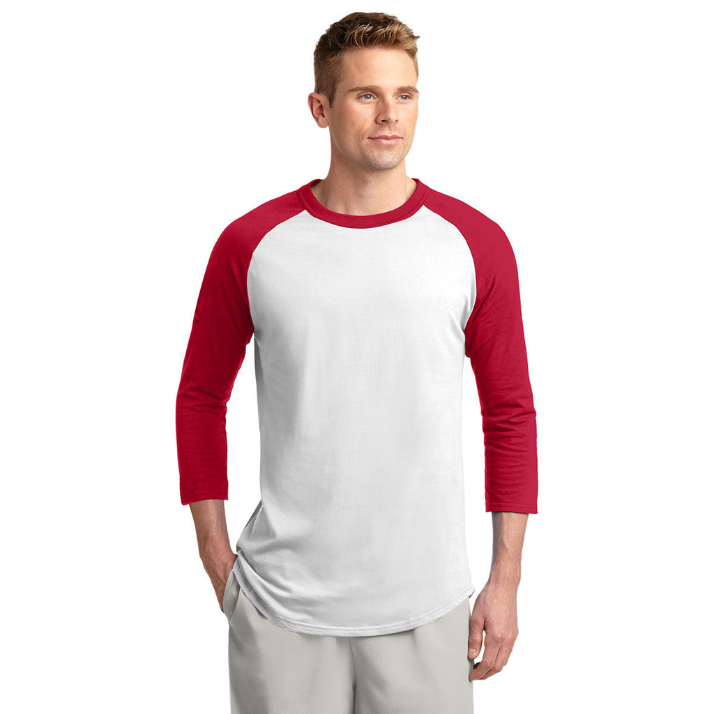 Sport-Tek Men's White/Red Colorblock Raglan Jersey