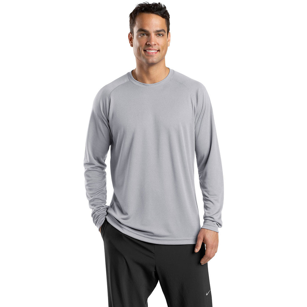Sport-Tek Men's Silver Dry Zone Long Sleeve Raglan T-Shirt