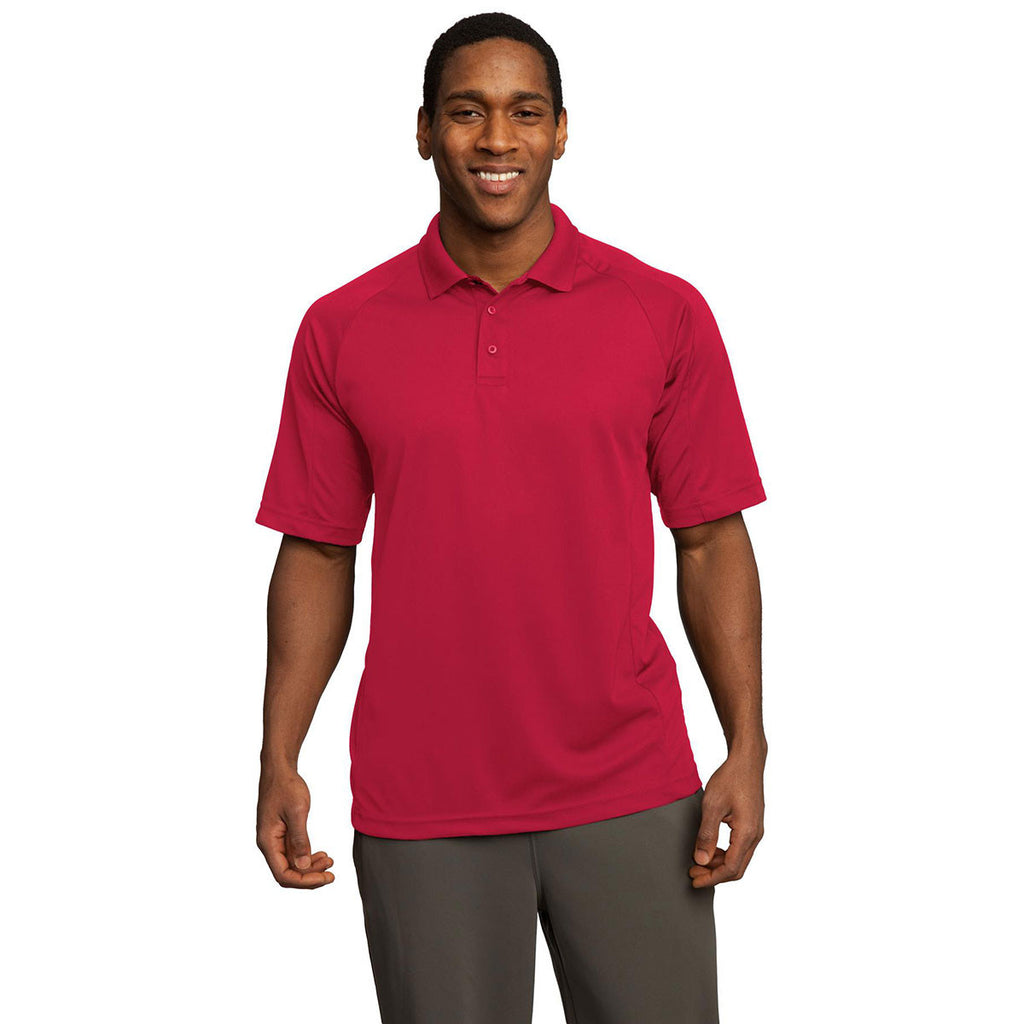 Sport-Tek Men's Engine Red Dri-Mesh Pro Polo
