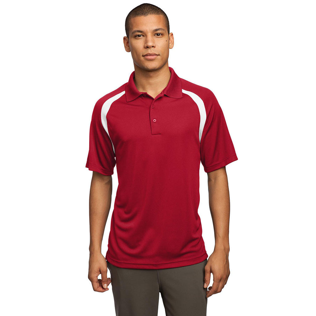 Sport-Tek Men's True Red/White Dry Zone Colorblock Raglan Polo