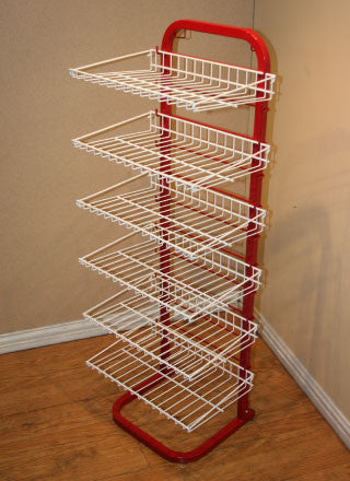 CS6SHELFRDWT 6 Shelf Display Stand Red Frame and White Shelves