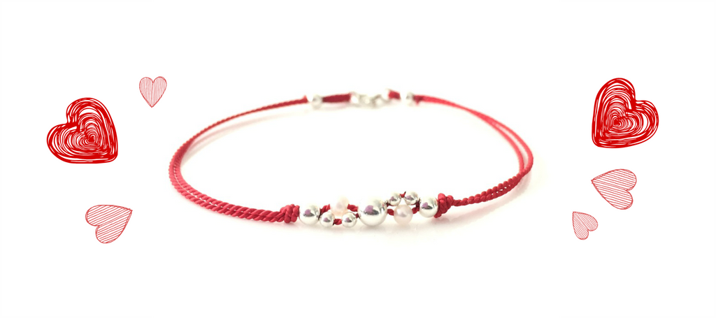 VALENTINE'S DAY FREE GIFT | Silver & Pearl Cluster on Red Silk Bracelet