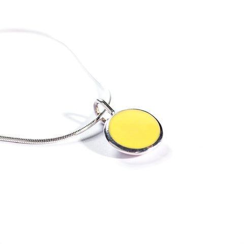 Silver & Cold Enamel Pendant | Fynbos Shades: Pincushion Yellow
