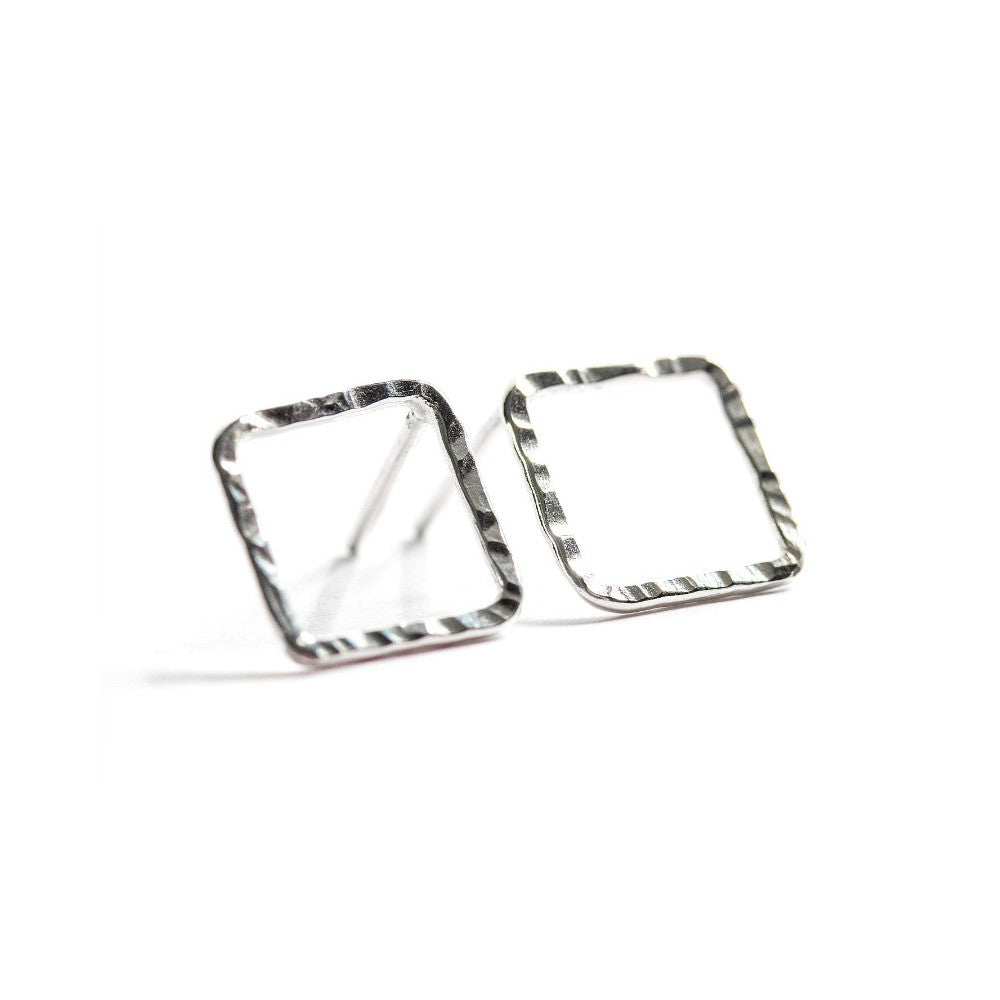 Silver Diamond-Shaped Studs