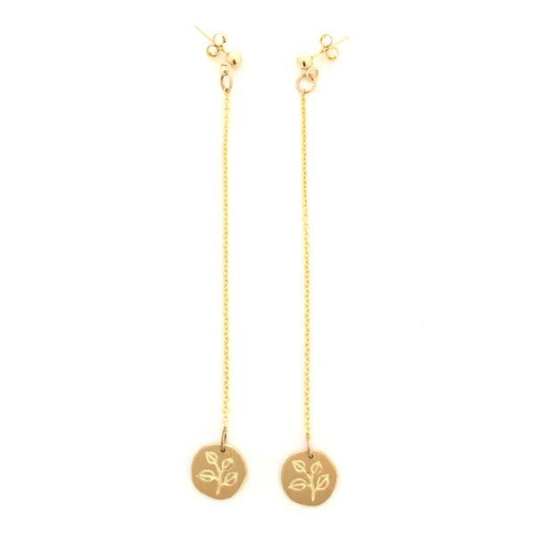 Greenhouse Collection | Silver Dollar Eucalyptus 9ct Yellow Gold Earrings
