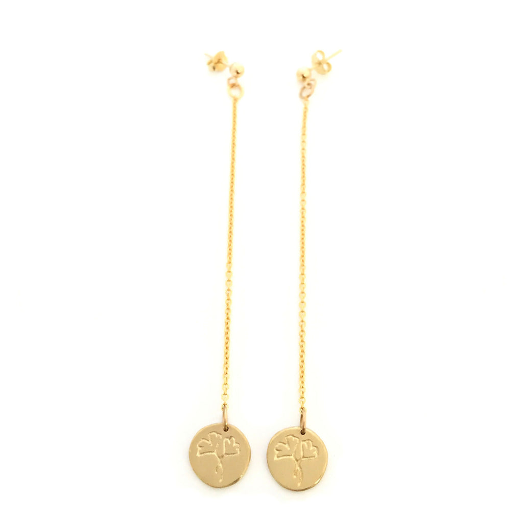Greenhouse Collection | Ginkgo Biloba 9ct Yellow Gold Earrings