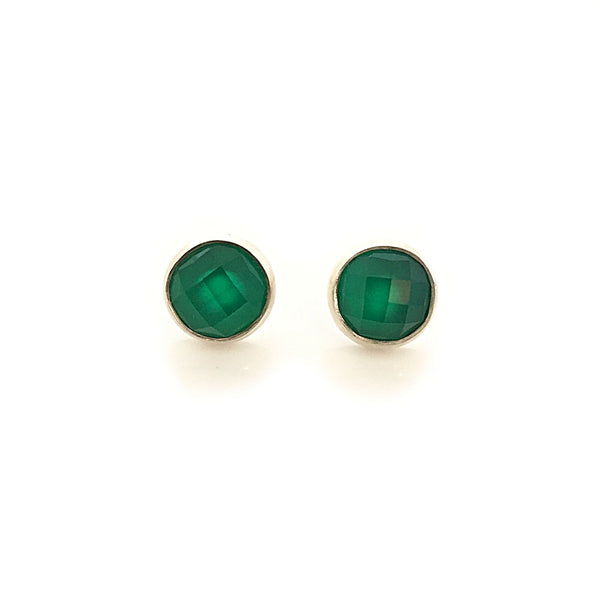 Silver & Round Green Onyx Studs