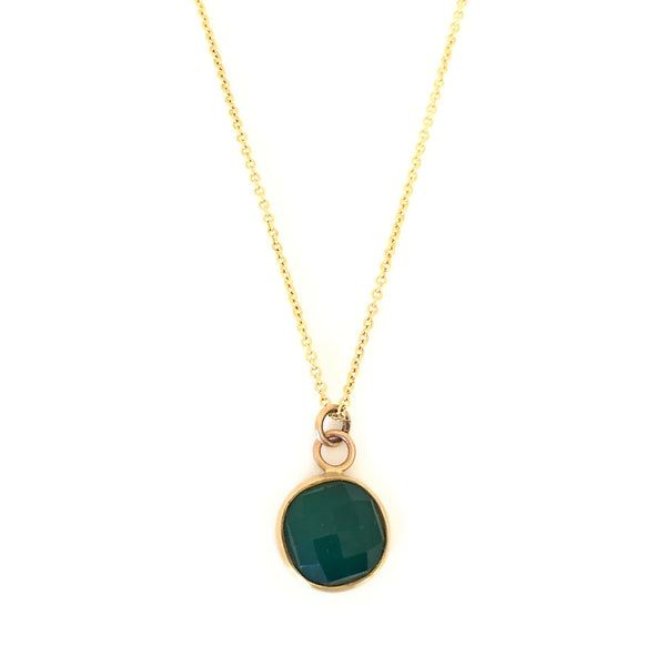 9ct Yellow Gold & Round Green Onyx Pendant