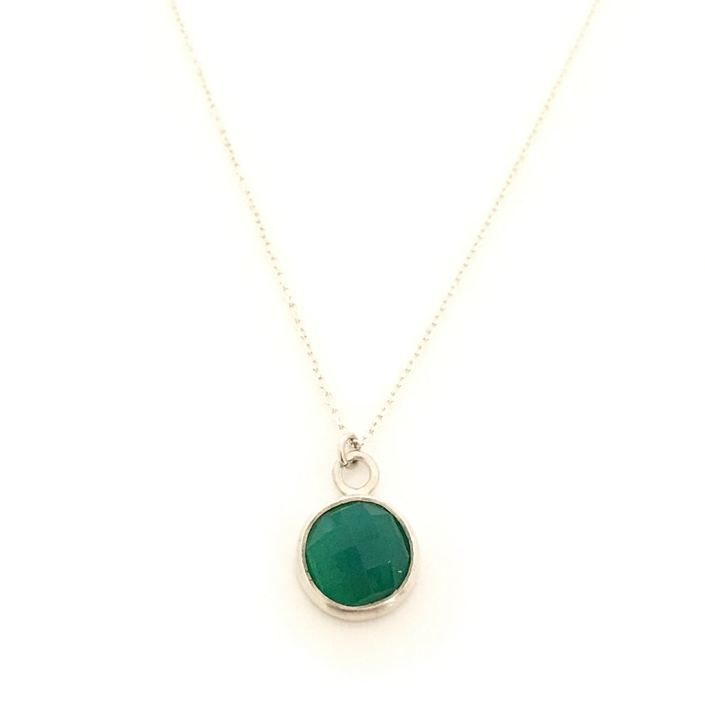 Silver & Round Green Onyx Pendant