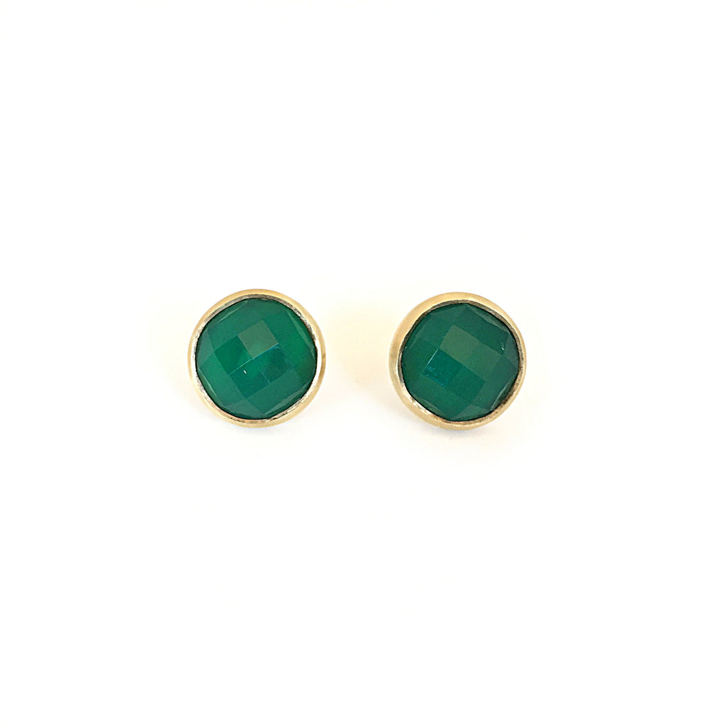 9ct Yellow Gold & Round Green Onyx Studs