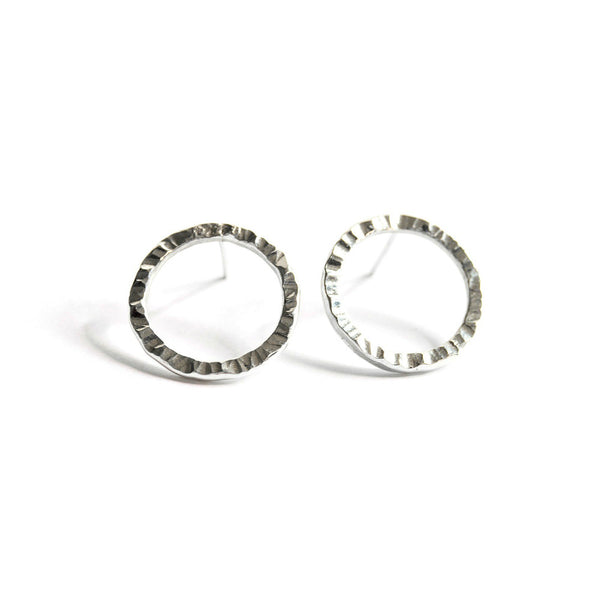 Silver Hammered Circular Studs