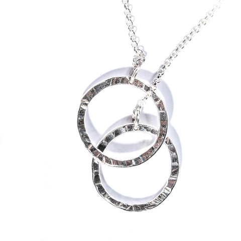 Silver Hammered Double Circle Pendant