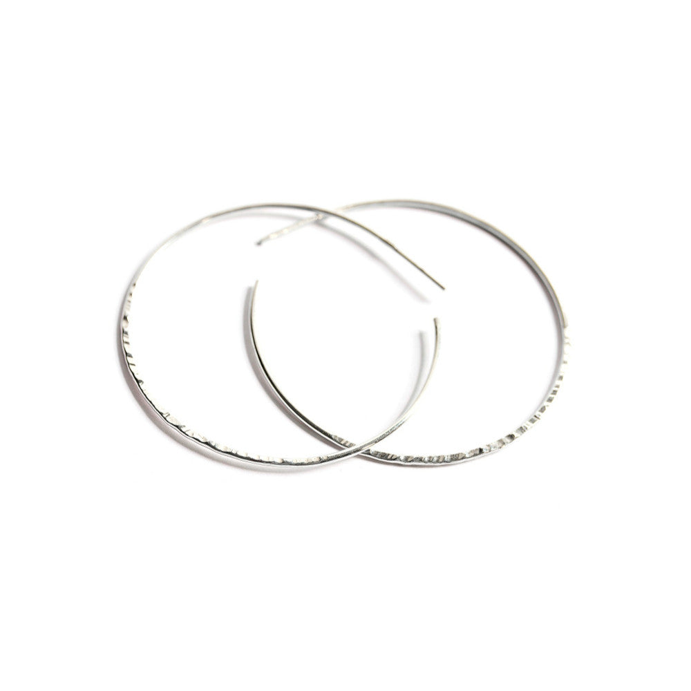 Silver Hammered Hoop Earrings