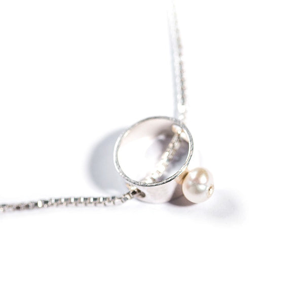 Silver & Freshwater Pearl Pendant (Full Circle)