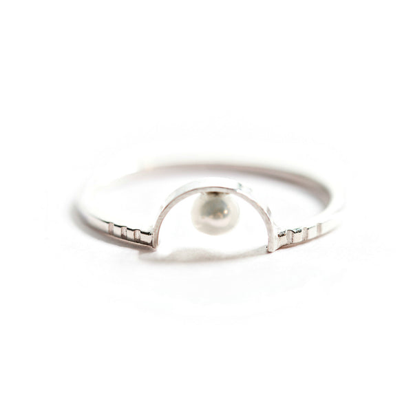 Silver & Freshwater Pearl Ring (Half Moon)