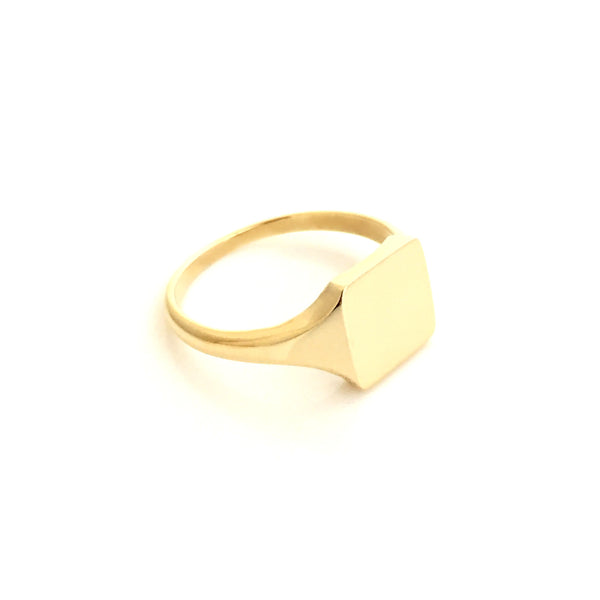 Gold Square Ladies Signet Ring