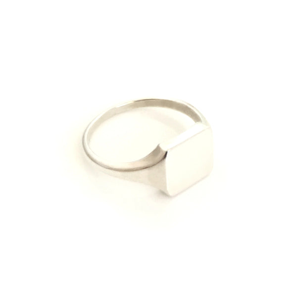 Silver Square Ladies Signet Ring