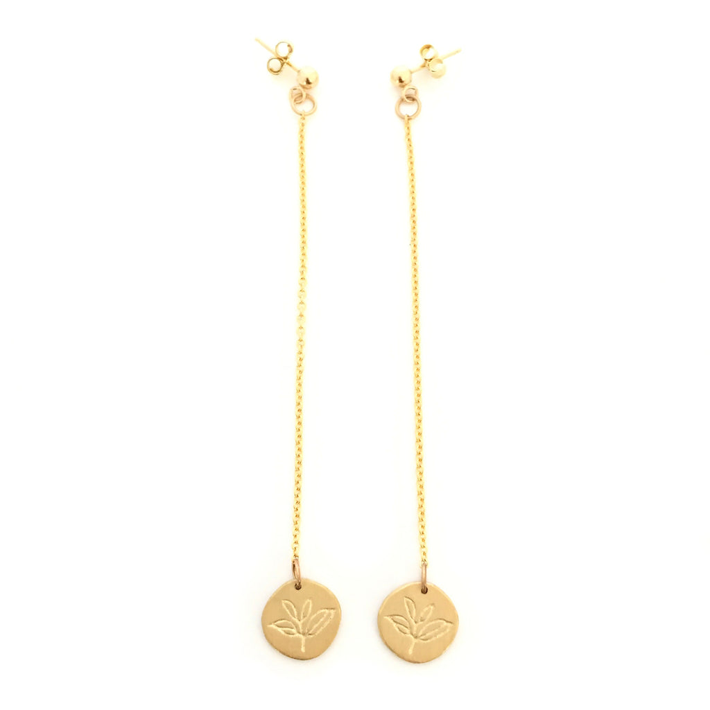 Greenhouse Collection | Tea Plant 9ct Yellow Gold Earrings