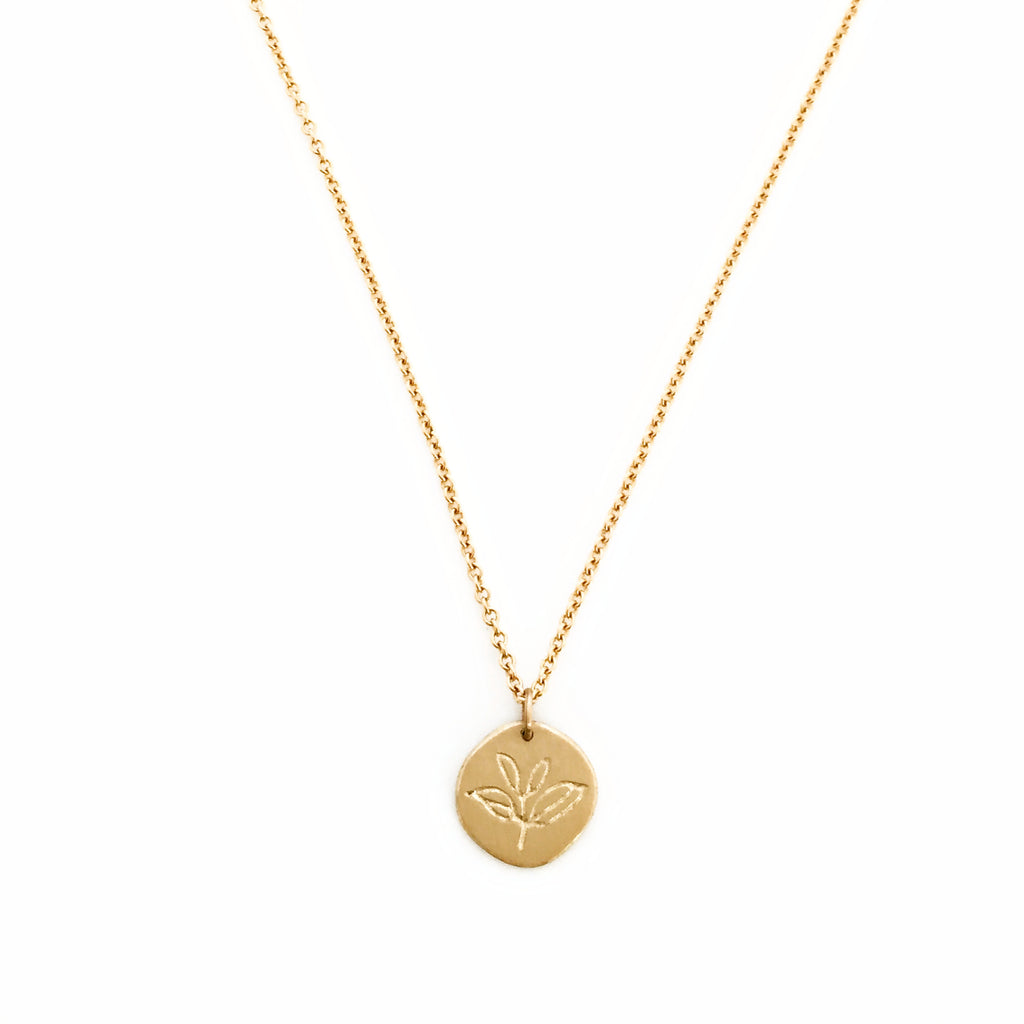 Greenhouse Collection | Tea Plant 9ct Yellow Gold Pendant